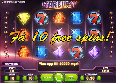 10 free spins på starburst